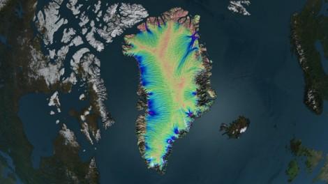 Prędkość płynięcia lodu na Grenlandii. Czerwony - minimalna, fioletowy - duża prędkość. Fot. NASA