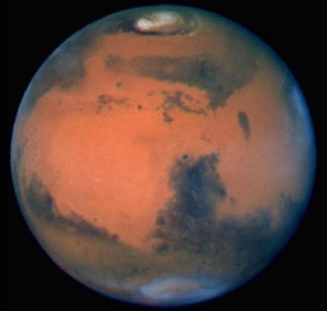 Mars sfotografowany przez Kosmiczny Teleskop Hubble'a. Fot. NSSDC NASA.