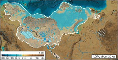 Zasięg ostatniego nasunięcia lądolodu plejstoceńskiego w Europie ok. 20 tys. lat temu. Pokryta jest również Polska północno-zachodnia. Za: Mangerud et al. (2004)