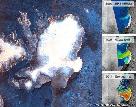 Przyspieszenie prędkości płynięcia południowego sektora czapy Austfonna, Svalbard. Barwy niebieskie - powolny ruch, czerwone - szybki. Fot. ESA