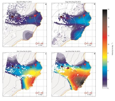Prędkość płynięcia lodu w Basenie-3, Austfonna, na podstawie danych z satelity TerraSAR-X. a - kwiecień/maj 2012; b - sierpień; c - październik; d - grudzień 2012/styczeń 2013. Czerwone strzałki - wektory ruchu odbiorników GPS.