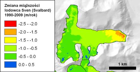 Ryc. 6. Zmiany miąższości lodowca Sven (Svenbreen, Svalbard) w latach 1990-2009 w oparciu o analizę cyfrowych modeli wysokościowych (DEM). Lodowiec płynie w prawym kierunku. Najszybszy ubytek masy obserwuje się na czole. Należy zwrócić uwagę, na niemal całkowity brak stref przyrostu grubości. Por. ryc. 4 i 5. Za: Małecki (2013).