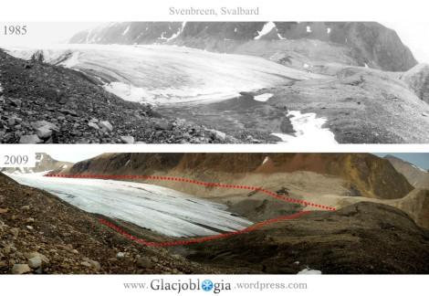 Ryc. 1. Zmiany grubości na czolelodowca Sven (Svenbreen), Ziemia Dicksona, Svalbard, w okresie 1985-2009. Szerokość jęzora wynosi ok. 500 m, a spadek grubości lodu widoczny na zdjęciu tokilkadziesiąt metrów. Fot. P. Kłysz (1985) i J. Małecki (2009).