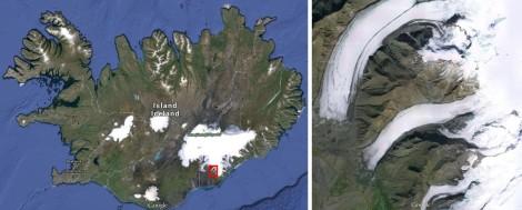 Islandia (po lewej) i lodowiec Svinafellsjokull (na środku po prawej). Mapa: Google Maps.