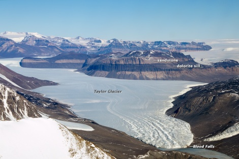 Lodowiec Taylora (Taylor Glacier), Suche Doliny (McMurdo Dry Valleys), Antarktyda. Fot. M. Studinger/NASA