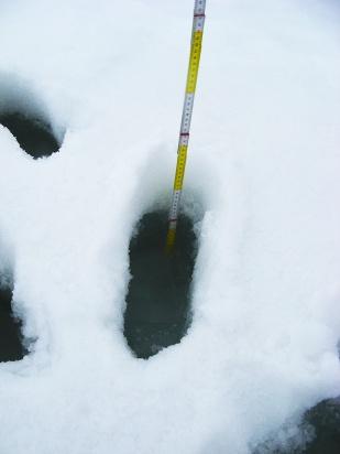 Supraglacjalne procesy hydrologiczne rozpoczynają się na dobre na początku lata, kiedy zimowy śnieg zaczyna topnieć. Początkowo woda roztopowa gromadzona jest w śniegu, a w momencie, gdy ten jest już przesycony wodą rozpoczyna się jej spływ w dół stoku. Na fotografii przedstawiono przesycony wodą śnieg (tzw. slush, czyli papkę śnieżno-wodną) na lodowcu Sven. Spód śladów stóp szybko wypełnił się 15 cm warstwą wody. //Water-saturated snow on Sven glacier (Svenbreen). Fot. Jakub Małecki, 2011//
