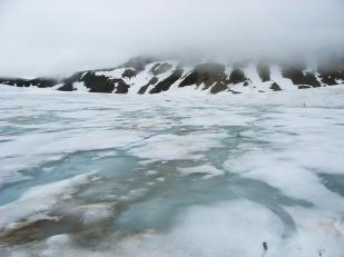 Supraglacjalne procesy hydrologiczne rozpoczynają się na dobre na początku lata, kiedy zimowy śnieg zaczyna topnieć. Początkowo woda roztopowa gromadzona jest w śniegu, a w momencie, gdy ten jest już przesycony wodą rozpoczyna się jej spływ w dół stoku. Na fotografii przedstawiono przesycony wodą śnieg (tzw. slush, czyli papkę śnieżno-wodną) na lodowcu Sven. Wyraźnie widoczny spływ wody w dół stoku, choć jeszcze słabo zorganizowany. //Water-saturated snow on Sven glacier (Svenbreen). Fot. Jakub Małecki, 2011//