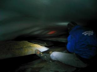"""Subglacjalny system odwadniający może być bardzo zróżnicowany. Powyższa fotografia pokazuje niskie, acz szerokie """"kieszenie"""" pod lodowcem Horbye. //Shallow cavity beneath Horbye glacier (Horbyebreen). Fot. Jakub Małecki, 2014//"""