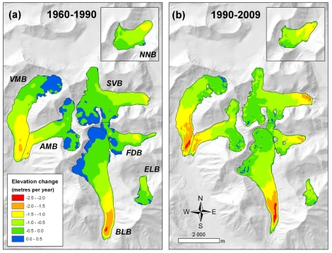 Zmiany wysokości powierzchni (grubości) lodowców zatoki Petunia w okresach 1960-1990 i 1990-2009. Należy zwrócić uwagę, że po 1990 roku nie zanotowano przyrostu wysokości (kolory niebieskie) na żadnym z badanych lodowców. Za: Małecki (2013), Polar Research.