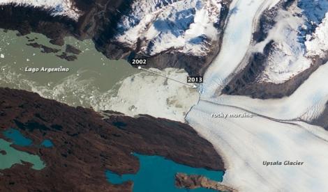 Recesja lodowca Upsala (Glaciar Upsala/Upsala Glacier) w latach 2002-2013. Fot. NASA