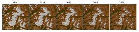 Zanik powierzchni zlodowaconej w regionie Frank Mackie (Góry Nadbrzeżne/Góry Św. Eliasza), przy założeniu scenariusza niskiej dwutlenku węgla (RCP2.6). Copyright: Garry Clarke.