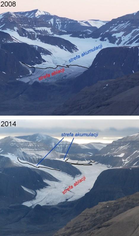 Lodowiec Sven (Svalbard) pod koniec lata 2008 (dodatni bilans masy) i 2014 (ujemny bilans masy). Czarna linia - linia równowagi.  W 2008 roku linia równowagi znajduje się na wysokości ok. 300 m n.p.m., w 2014 - 600 m n.p.m. Fot. T. Wawrzyniak (2008), J. Małecki (2014).