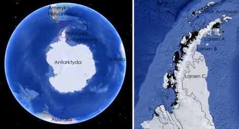 Położenie Półwyspu Antarktycznego (po lewej) oraz lodowca szelfowego Larsen C oraz dawnego położenia lodowców Larsen A i B. PSA Arctowski - Polska Stacja Antarktyczna na Wyspie Króla Jerzego. Źródło: Google Earth.