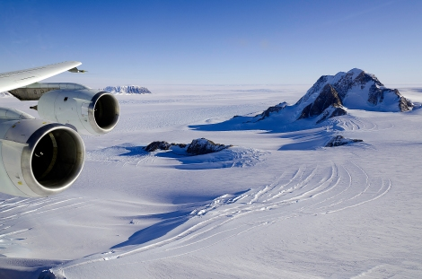 Glaciers and rock outcrops in Marie Byrd Land, West Antarctica.