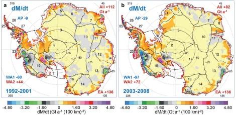 Mapy bilansu masy lądolodu Antarktydy. Źródło: Zwally et al. 2015/Journal of Glaciology