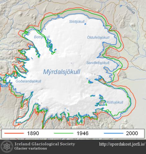 Recesja czapy lodowej Myrdalsjokull od końca Małej Epoki Lodowej. Źródło: http://spordakost.jorfi.is/