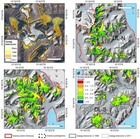 Zmiany kriosfery Ziemi Dicksona, Svalbard: a - przykład zmian powierzchni lodowców w XX i XXI wieku. Podkład ortofotomapy: Norsk Polarinstitutt; b, c, d - zmiany grubości lodowców w okresie 1990-2011 w podregionach Ziemi Dicksona: północnym (a), środkowym (b) i południowym (c). Na mapie niemal nie występują barwy niebieskie oznaczające przyrost grubości. Źródło: Małecki (2016)/The Cryosphere, CC-BY-3.0.