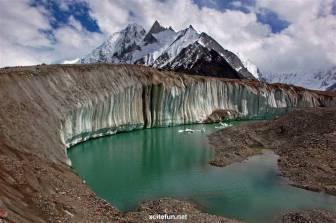 Klify lodowe okalające jeziorko na powierzchni lodowca Baltoro. Fot. Mahnoorrana11, Wikimedia, CC-BY-SA 4.0, https://creativecommons.org/licenses/by-sa/4.0/deed.en