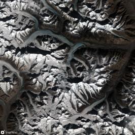 Lodowce Karakorum widziane przez satelitę Sentinel-2. Fot. Software: https://snapplanet.io/; data: Sentinel-2; Copyright Copernicus Data; License: CC-BY NC, https://creativecommons.org/licenses/by-nc/4.0/